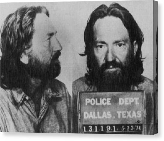 Willie Nelson Mug Shot Horizontal Black And White Canvas Print