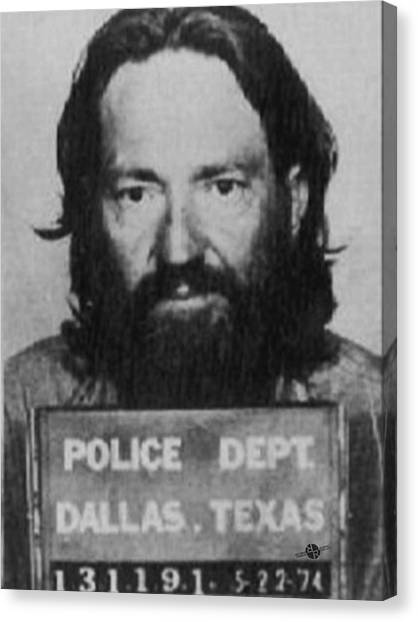 Willie Nelson Mug Shot Vertical Black And White Canvas Print