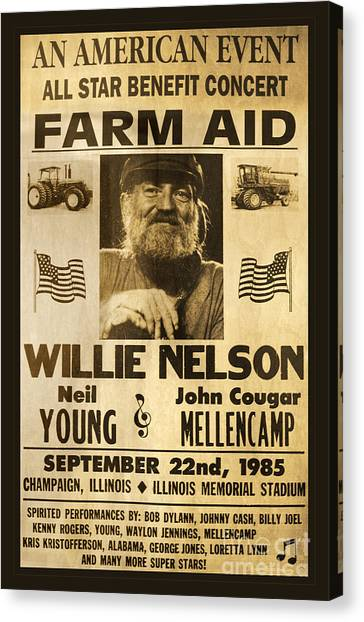 Bob Dylan Canvas Print - Willie Nelson Neil Young 1985 Farm Aid Poster by John Stephens