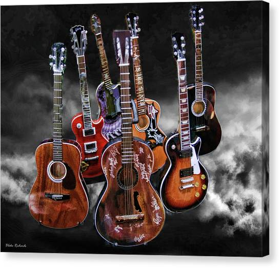 Willie Nelson Slash Martin Elvis Johnny Cash Guitar's  Canvas Print