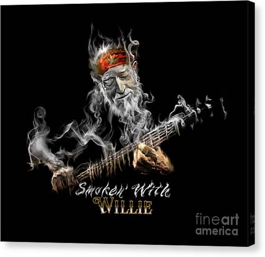 Willie Smoken' Canvas Print