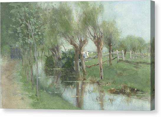 Ditch Canvas Print - Willows In A Ditch by Geo Poggenbeek