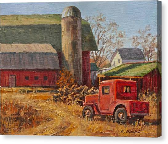 Willys Jeep At Work Canvas Print by Robert Perrish