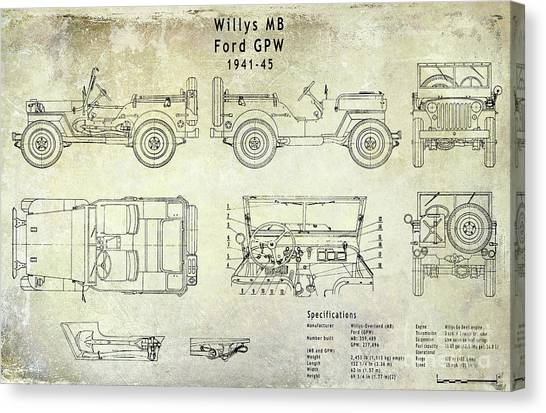 Jeep Canvas Print - Willys Jeep Blueprint by Jon Neidert