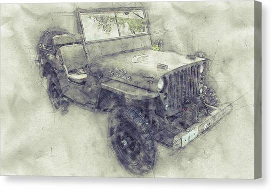 Offroading Canvas Print - Willys Mb 1 - Ford Gpw - Jeep - Automotive Art - Car Posters by Studio Grafiikka