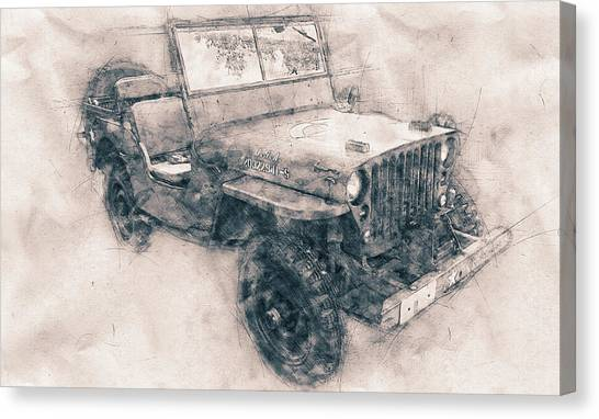 Offroading Canvas Print - Willys Mb - Ford Gpw - Jeep - Automotive Art - Car Posters by Studio Grafiikka