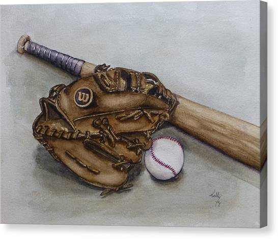 Wilson Baseball Glove And Bat Canvas Print
