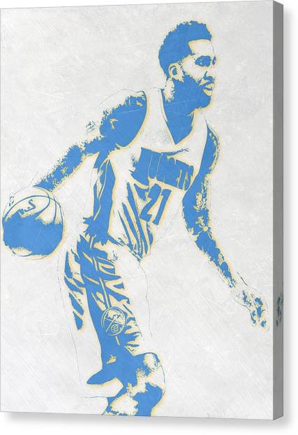 Denver Nuggets Canvas Print - Wilson Chandler Denver Nuggets Pixel Art by Joe Hamilton