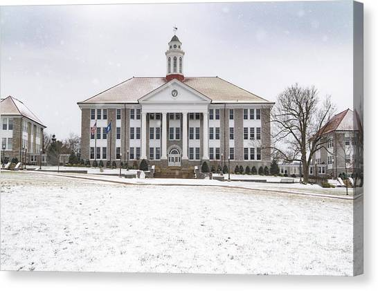 James Madison University Jmu Canvas Print - Wilson Hall Snow by Cara Walton