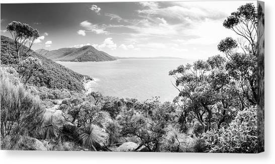 Canvas Print featuring the photograph Wilsons Promontory Panorama Black And White by Tim Hester