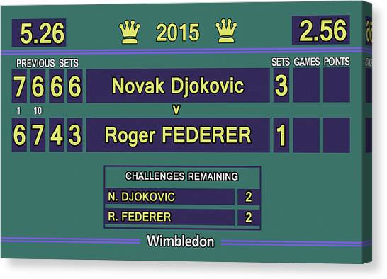 Andre Agassi Canvas Print - Wimbledon 2015 Final Djokovic V Federer by Carlos Vieira