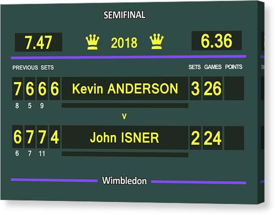 Andre Agassi Canvas Print - Wimbledon Scoreboard 2018 Semifinal 1 by Carlos Vieira