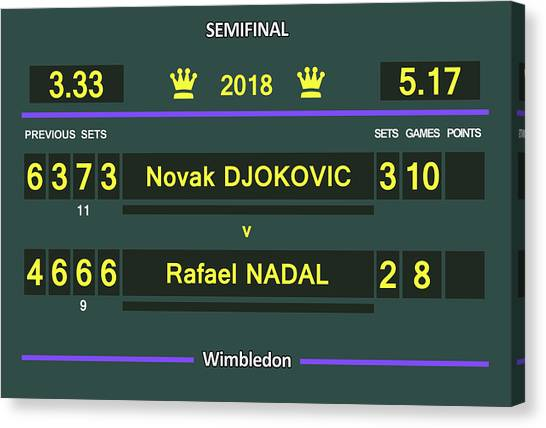Andre Agassi Canvas Print - Wimbledon Scoreboard 2018 Semifinal 2 by Carlos Vieira