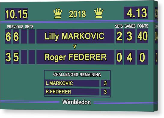 Andre Agassi Canvas Print - Wimbledon Scoreboard - Lilly Markovic - 4-13 by Carlos Vieira