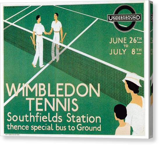 Wimbledon Tennis Southfield Station - London Underground - Retro Travel Poster - Vintage Poster Canvas Print