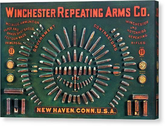 Winchester 1884 Cartridge Board Canvas Print