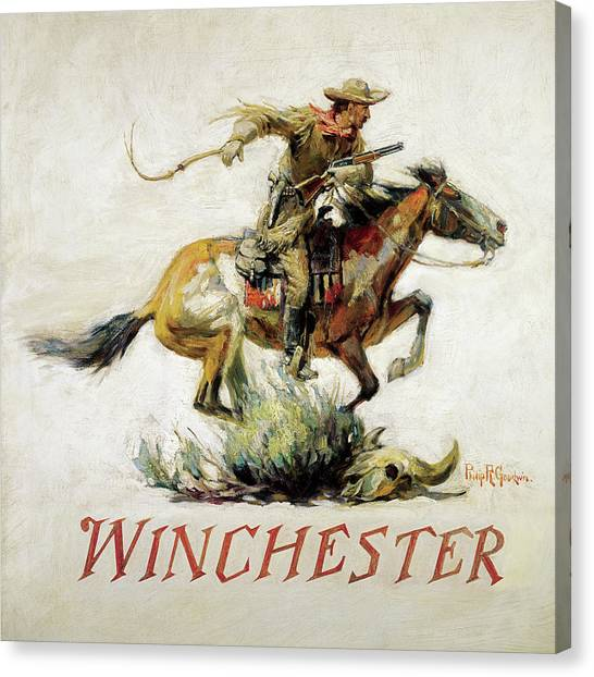 Winchester Horse And Rider Canvas Print By Philip R Goodwin
