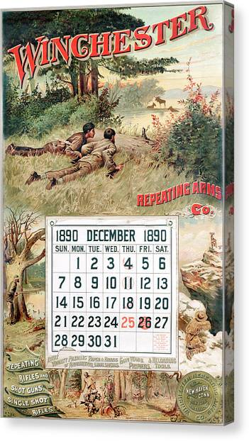 1890 Winchester Repeating Arms And Ammunition Calendar Canvas Print