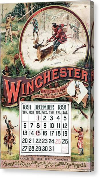 1891 Winchester Repeating Arms And Ammunition Calendar Canvas Print