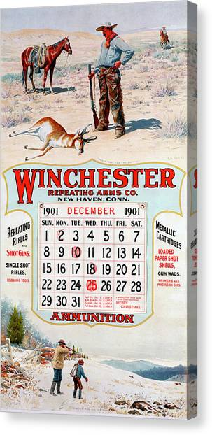 1901 Winchester Repeating Arms And Ammunition Calendar Canvas Print