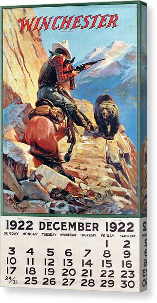 1922 Winchester Repeating Arms And Ammunition Calendar Canvas Print