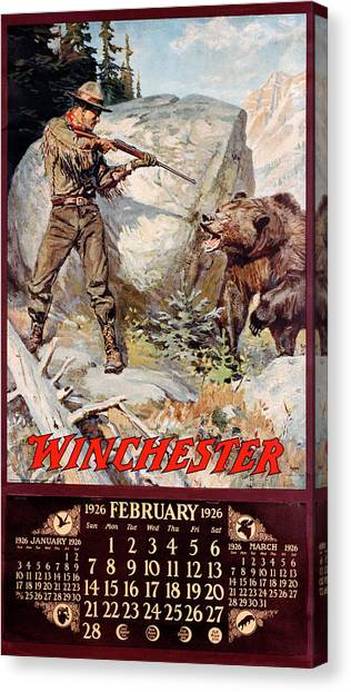 1926 Winchester Repeating Arms And Ammunition Calendar Canvas Print