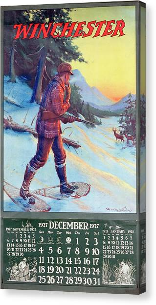 1927 Winchester Repeating Arms And Ammunition Calendar Canvas Print