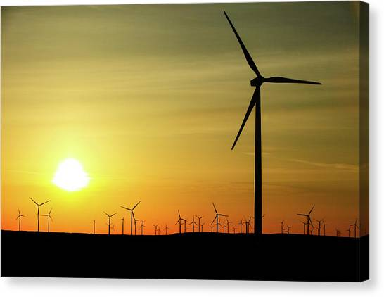Wind Farms Canvas Print - Wind Farm Sunrise by Todd Klassy