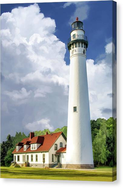 Canvas Print featuring the painting Wind Point Lighthouse by Christopher Arndt