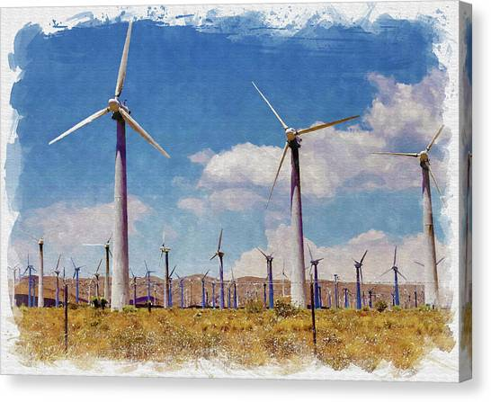 Mojave Desert Canvas Print - Wind Power by Ricky Barnard