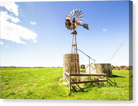 Wind Farms Canvas Print - Wind Powered Farming Station by Jorgo Photography - Wall Art Gallery