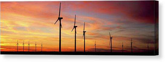 Wind Farms Canvas Print - Wind Turbine In The Barren Landscape by Panoramic Images