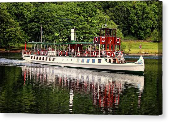 Lake Geneva Canvas Print - Windermere Steamer by Martin Newman