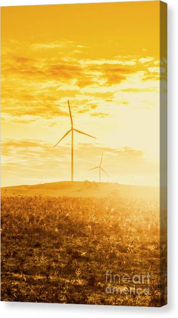Wind Farms Canvas Print - Windfarm Sunset by Jorgo Photography - Wall Art Gallery