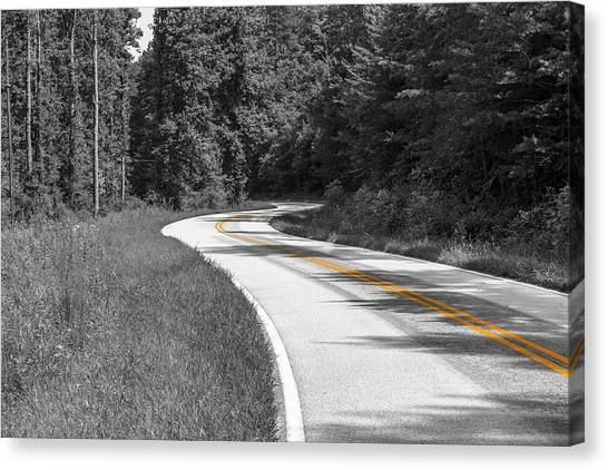 Canvas Print featuring the photograph Winding Country Road In Selective Color by Doug Camara