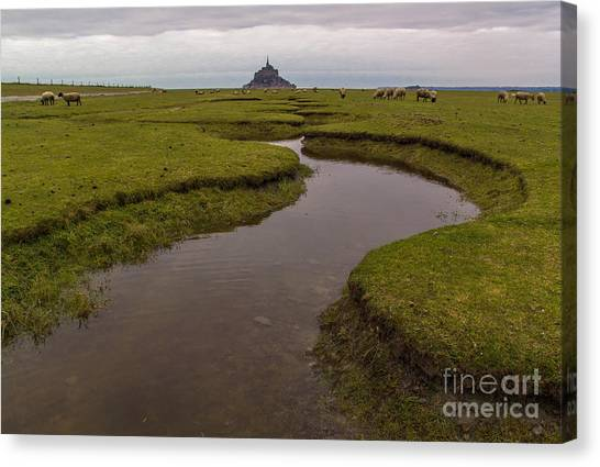 Winding In The Mont Saint-michel Bay Canvas Print