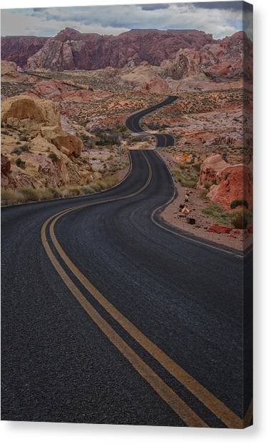 Valley Of Fire Canvas Print - Winding Road by Rick Berk