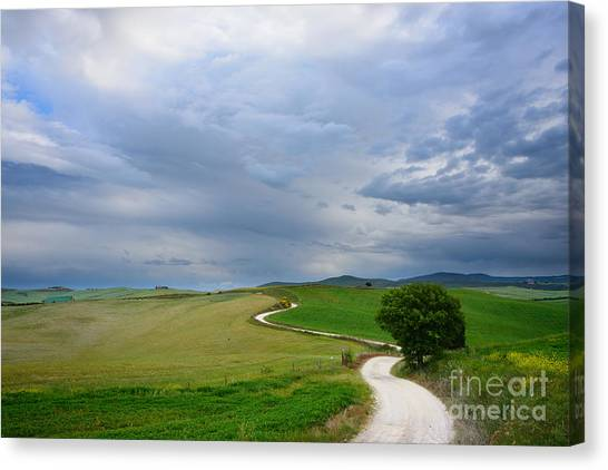Winding Road To A Destination In A Tuscany Landscape Canvas Print