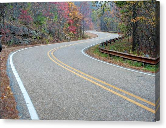 Winding Roads In Autumn Canvas Print by Gregory Ballos