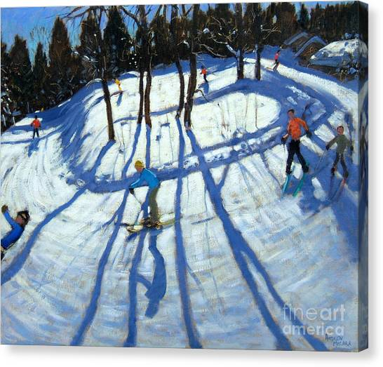 Ski Canvas Print - Winding Trail Morzine by Andrew Macara