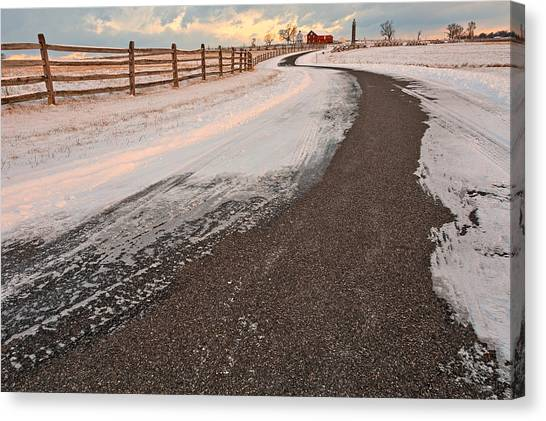Winding Winter Road Canvas Print