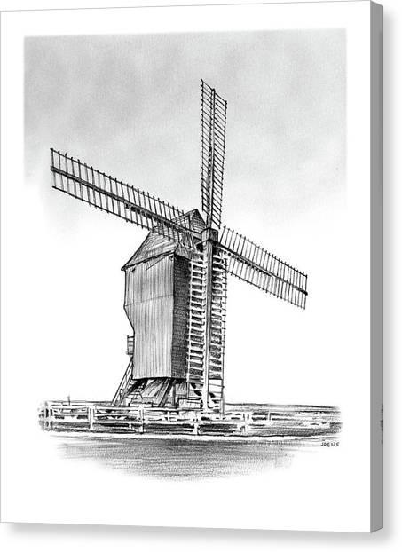 Windmill Canvas Print - Windmill At Valmy by Greg Joens