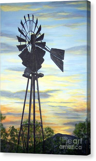 Windmill Capture The Wind Canvas Print by Judy Filarecki