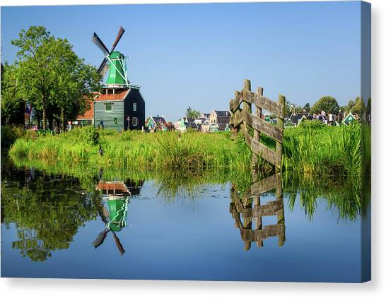 Windmill Reflection Canvas Print