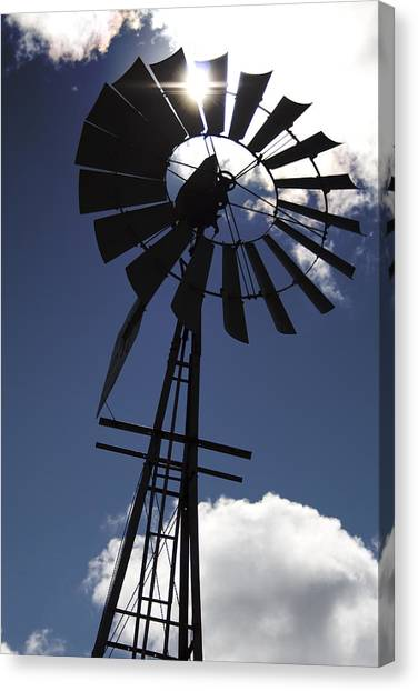 Windmill Silhouette  Canvas Print by Kandie  Kingery