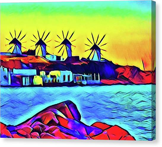 Windmills At Mykonos Canvas Print