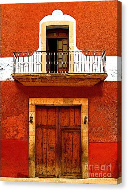 Window Above The Wooden Door Canvas Print by Mexicolors Art Photography
