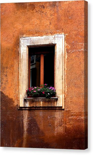 Window And Flowers Rome  Canvas Print by Xavier Cardell