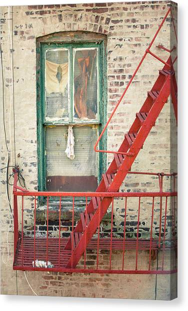 Manhatan Canvas Print - Window And Red Fire Escape by Gary Heller