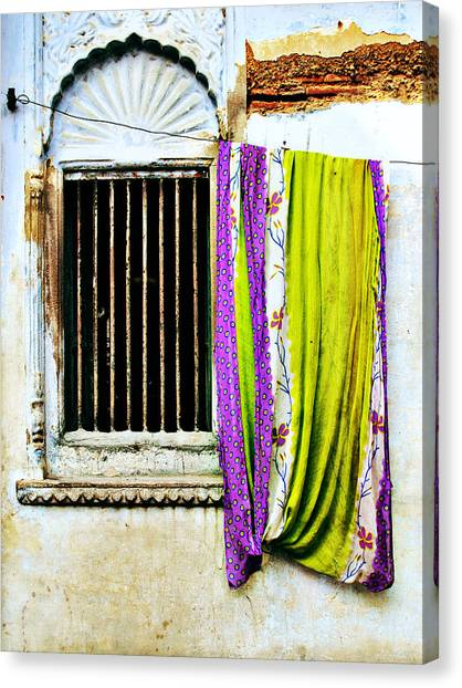 Window And Sari Canvas Print by Derek Selander